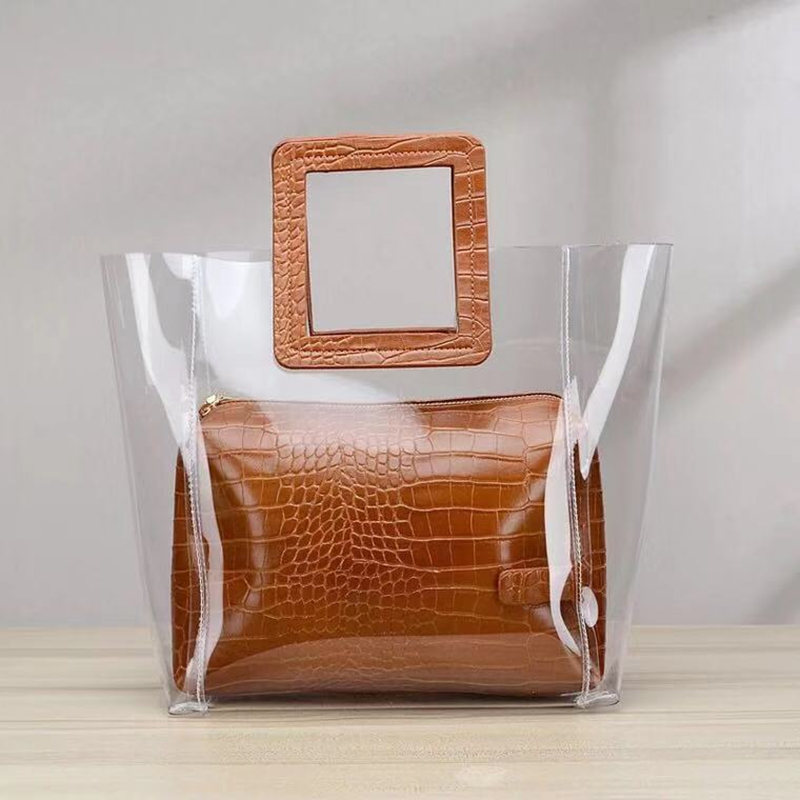 2019 Clear Transparent PVC Shoulder Bags Women Candy Color Women Jelly Bags Purse Solid Color Handbags Sac A Main Femme Handbag
