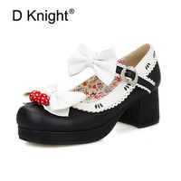 2018 Girls Sweet Bow Women Lolita Mary Janes Shoes Strawberry Bell High Heel Ballet Pumps Ankle Strap Shoes Big Size 30 43 US 12