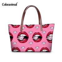 Coloranimal Brand Designer Women Large Handbags Sexy Pink Ladies Lipstick Shoulder Bags For Girls Travel Female