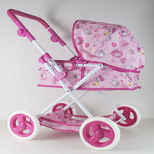 Large LuxuryBaby Stroller Pretend Play Simulation Toys Trolley Imitation Baby Four Wheels Folding Doll