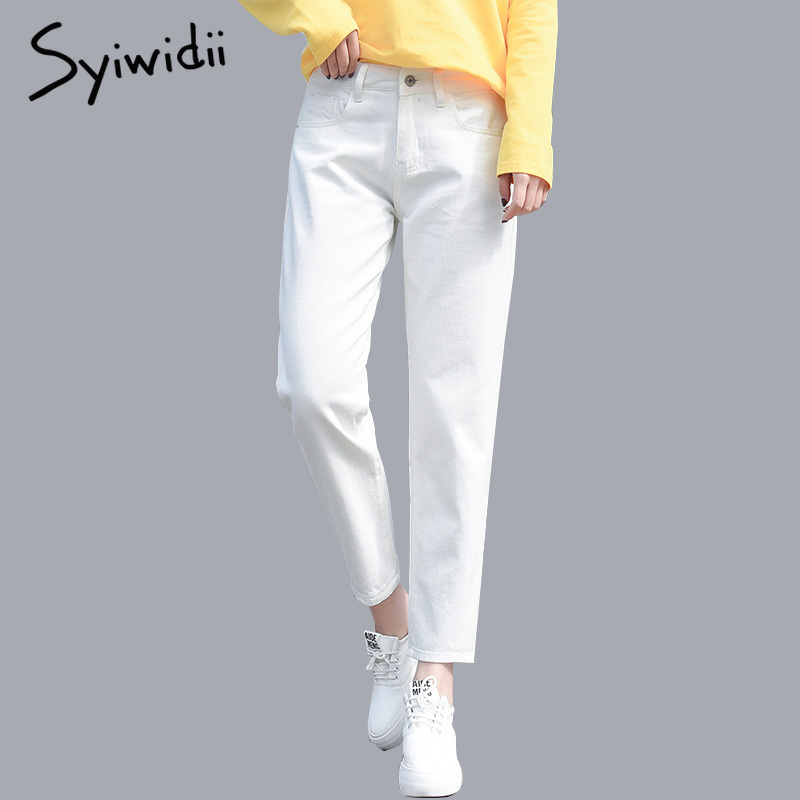 syiwidii Cotton White Jeans for Women High Waist Harem Mom Jeans Plus Size Sky Blue