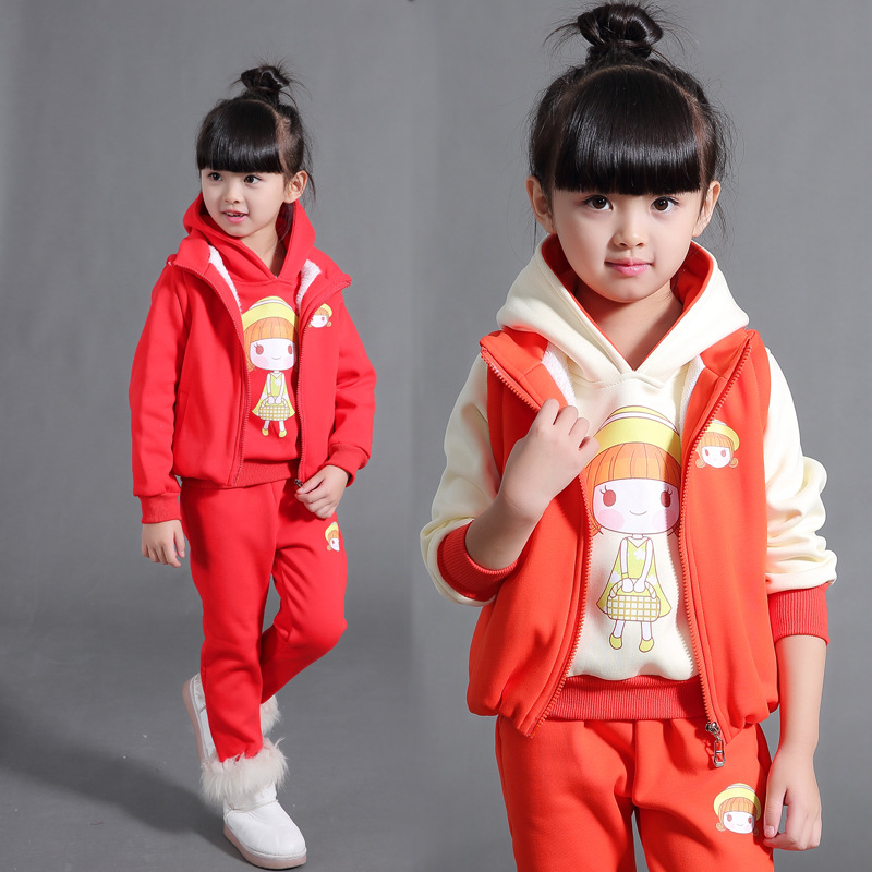 Girl 9 winter suits new casual 6 sweater 10 plus velvet thick 8-12 year old autumn and winter models three-piece sets cardigans