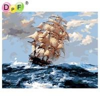 DPF Rahmenlose ölgemälde digitale durch zahlen diy bild färbung auf leinwand handgemachte wand-dekoration Segeln heraus zum meer