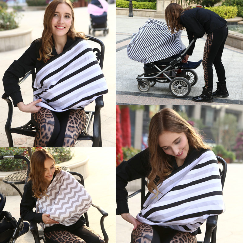 Baby Car Seat Cover Canopy Nursing Cover Multi-Use Stretchy Infinity Scarf Breastfeeding Shopping Cart Cover High Chair Cover ...