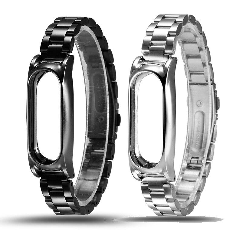 imágenes para Correa de metal de acero inoxidable para xiaomi miband 2 pulsera inteligente reemplazo xiomi mi banda 2 cambie correa correa de reloj de pulsera