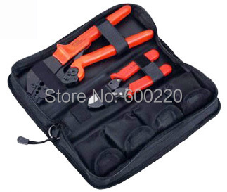 Combination hand  tool set for TV cables,coaxial cable crimping tool BNC crimping tool kit with replaceable dies AP-K05H  цены