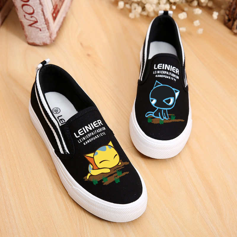 Low foot wrapping flat heel casual doodle canvas shoes flat shoes cotton-made pedal shoes lazy slip-on shoe