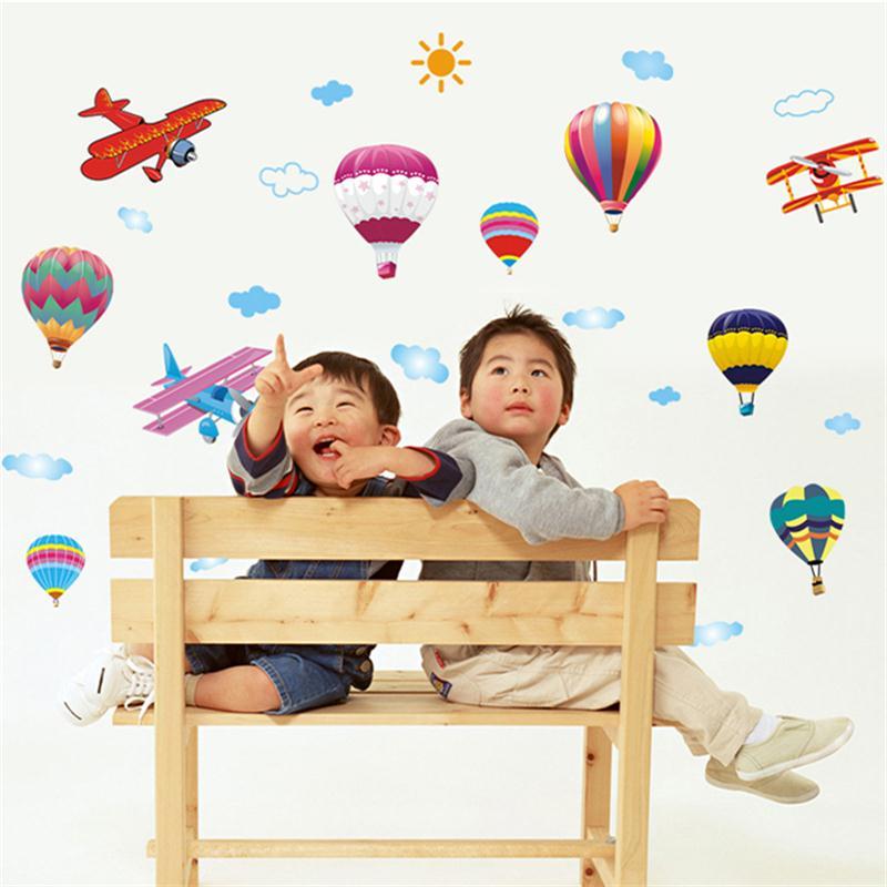 Hot Air Balloon Aircraft Wall Stickers For Kids Rooms Kids Children Nursery Bedroom DIY Mural Home Decor Art Decal
