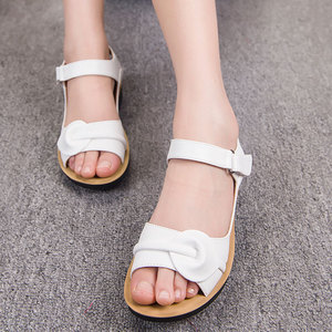 Image 3 - Mütter Plattform Sandalen Sommer Flache Schuhe Frau Runde Kappe Mode Keile Weibliche Mama Flache Sandale Damen Casual Schuhe