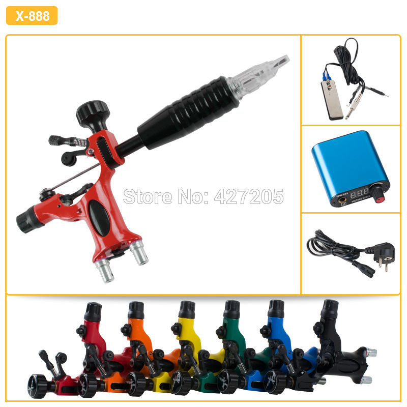 где купить Hot Sale Tattoo Kit Tattoo Equipment Set with Dragonfly Red Rotary Tattoo Machine Gun Grip Footswitch Power Supply Free Shipping по лучшей цене