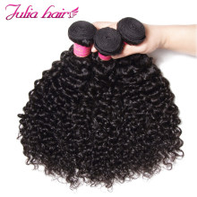 Ali Julia Hair Brazilian Curly Weave Human Hair Bundles Remy Free Shipping Natural Black Color 8''-26'' 1PC 3PC 4PC(China)