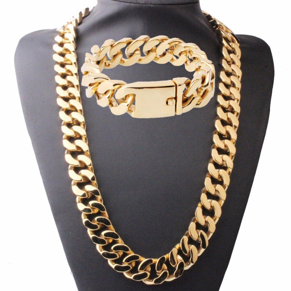 Ensemble de bijoux pour hommes 20mm chaîne pour hommes collier pour garçons chaîne à maillons cubains en argent or en acier inoxydable collier Bracelet ensemble de bijoux