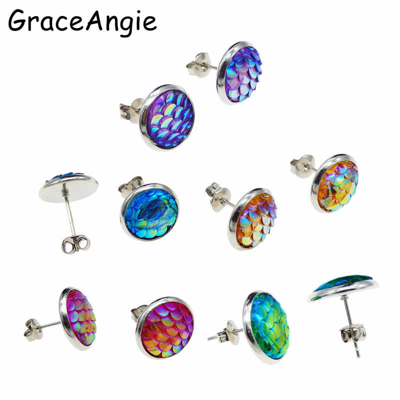 GraceAngie Stainless Steel Stud Earrings Mermaid Studs For Women New Brincos Women Wedding Jewelry Bohemia Party Accessories