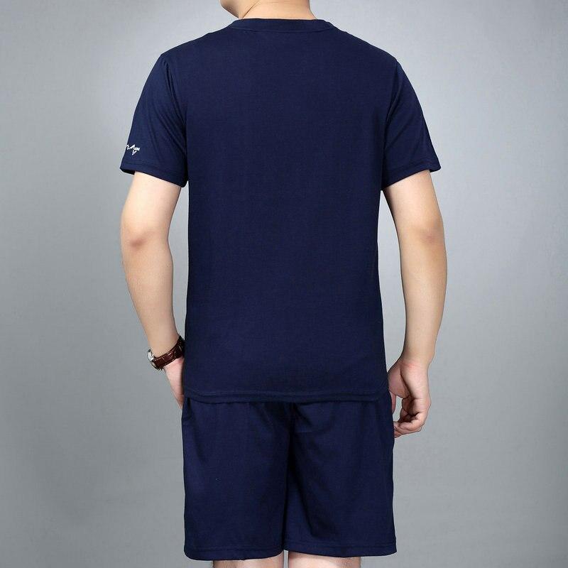 Man Casual T-shirt And Short Suit 2PCS Pant Set Navy Blue Gray Cotton Ensemble  Homme 2 Pieces Shorts Set Tracksuit Summer Suits 2a405128b2a