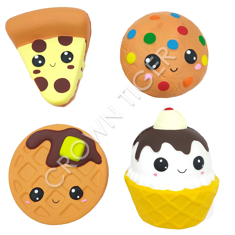 Jumbo Pizza Chocolate Biscuits Cute Squishy Slow Rising Soft Squeeze Toy Wholesale Phone Strap Scented Relieve Stress Kids Gift