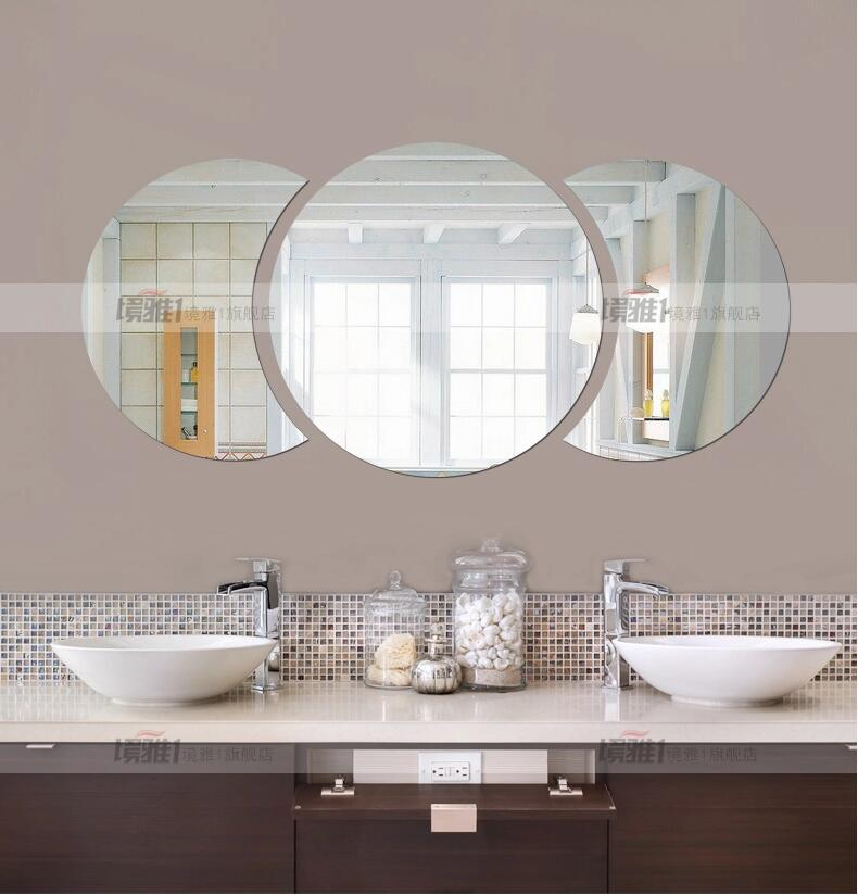 Three dimensional crystal wall stickers acrylic round bathroom mirror decorated with semi restaurant washbasin looking glass