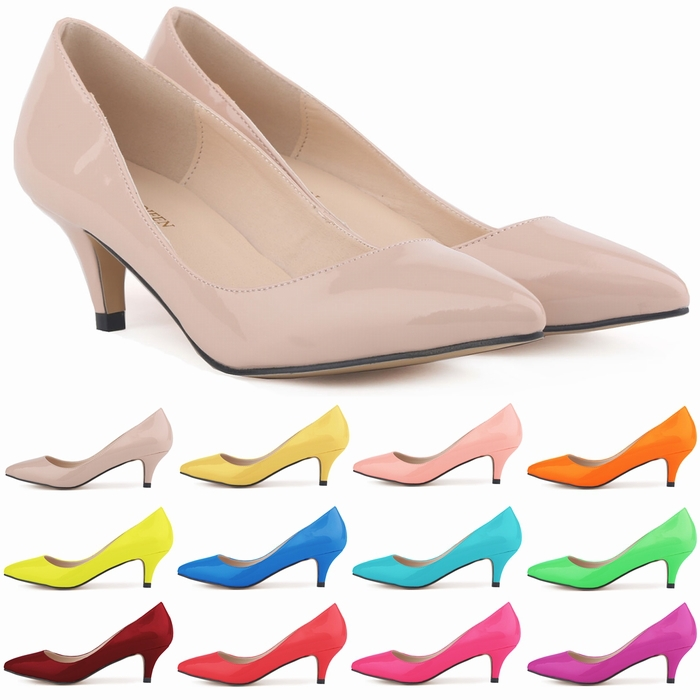 Classic Sexy Pointed Low Med Kitten Heels Women Pumps Shoes Spring ...