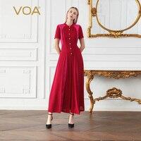 VOA 2018 шелк летние шорты рукавом Цвет шить плиссированные Длинная Куртка с секциями середины талии Женская одежда Verano красный комбинезон Для