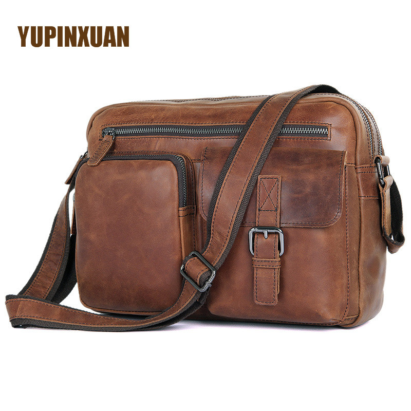 "Здесь продается  YUPINXUAN Europe Fashion Cow Leather Shoulder Bags for Men 12.9"" Ipad Crossbody Bag Large Designer Genuine Leather Travel Bags   Камера и Сумки"