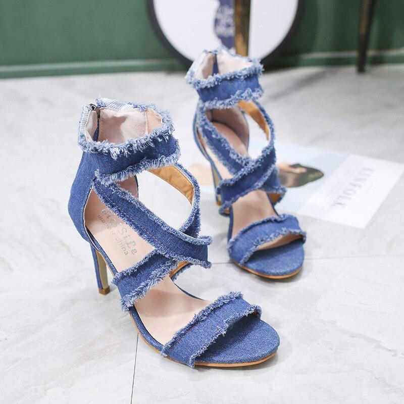 Sólido Las De Señaló Blue Perixir La Sandalias Cremallera Talón Moda Tacón Correa light Mujeres Mujer Color Blue Alto Dark Zapatos Verano w5qZrIqP