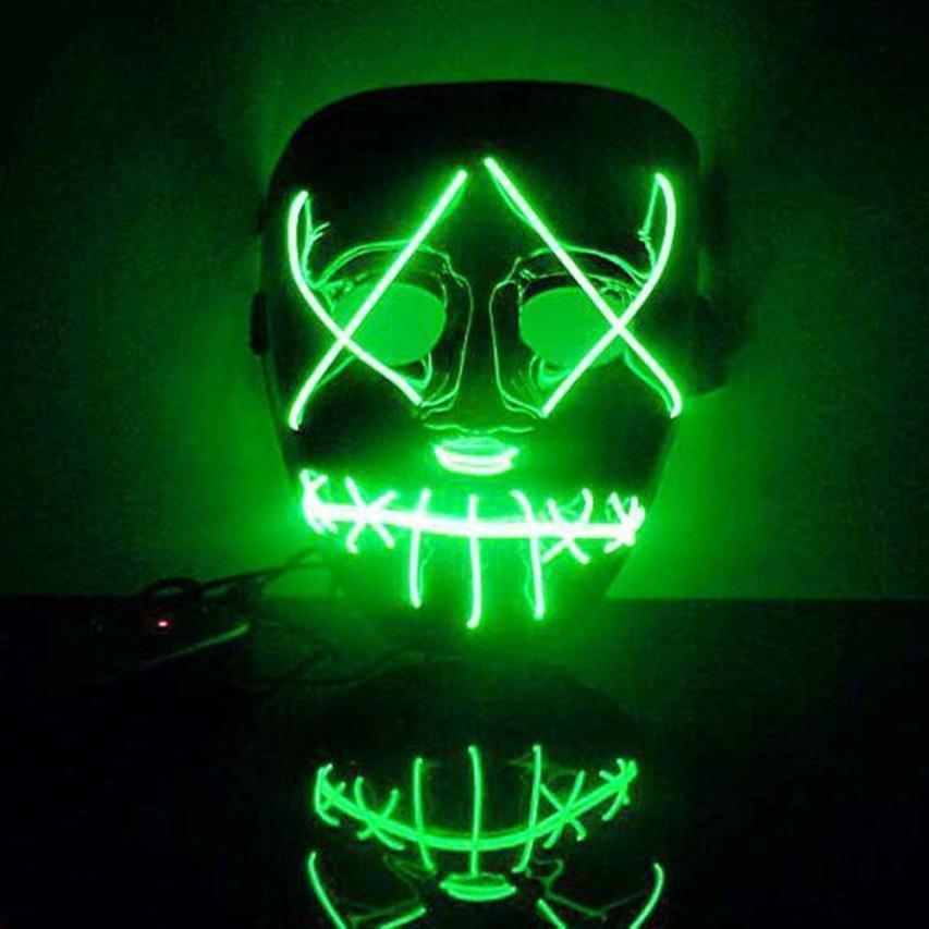 Halloween Mask LED Light Up Divertente Maschera La Maschera di Spurgo Elettorale anno Grande Festival Cosplay Costume di Halloween Mascherine Del Partito Glow In scuro