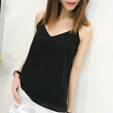 цены на Summer Women Tank Tops Casual Loose Chiffon Camis Sleeveless Vest Sexy Deep V-Neck Party Solid Backless Camisole Femme в интернет-магазинах