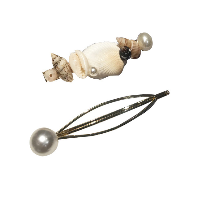 2 Pieces Metal Shell Pearl Hairpins Mawgie