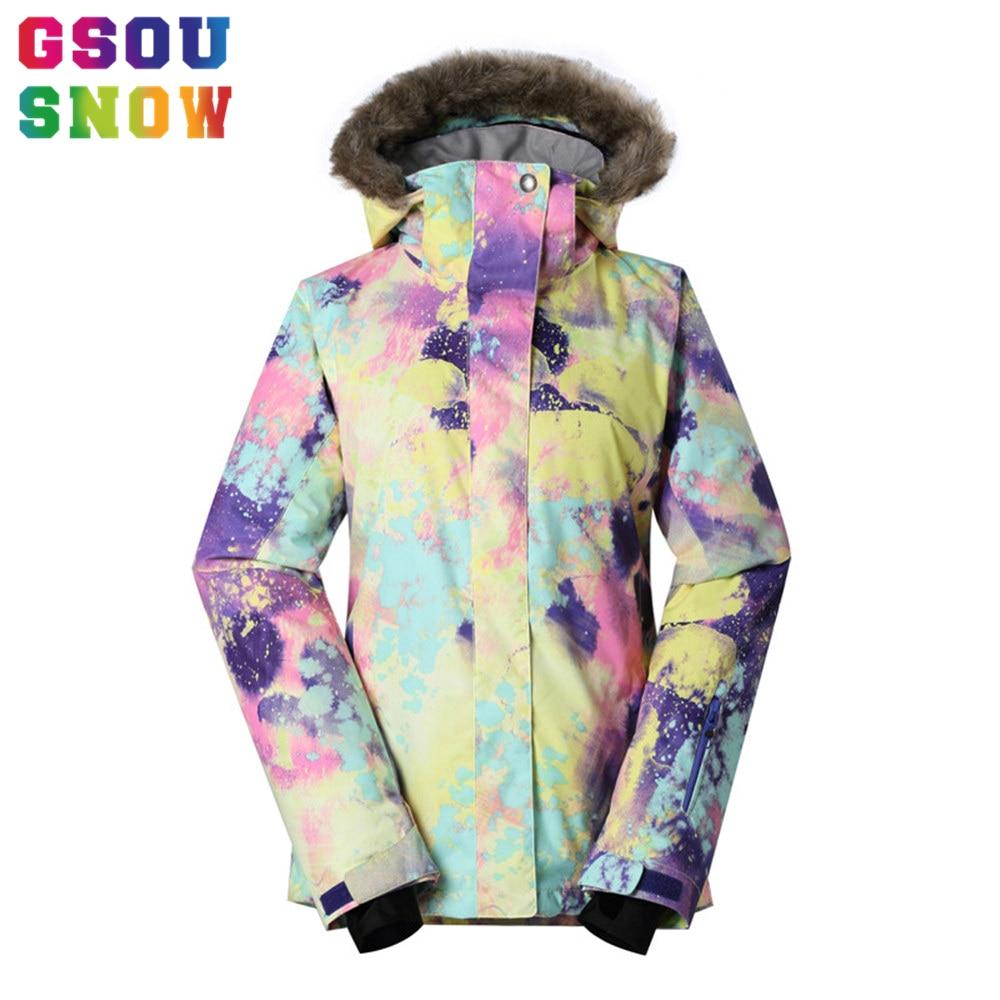 GSOU marca de nieve chaqueta de esquí traje de esquí de las mujeres impermeable Snowboard chaqueta de abrigo de invierno con capucha de piel caliente al aire libre de nieve esquí