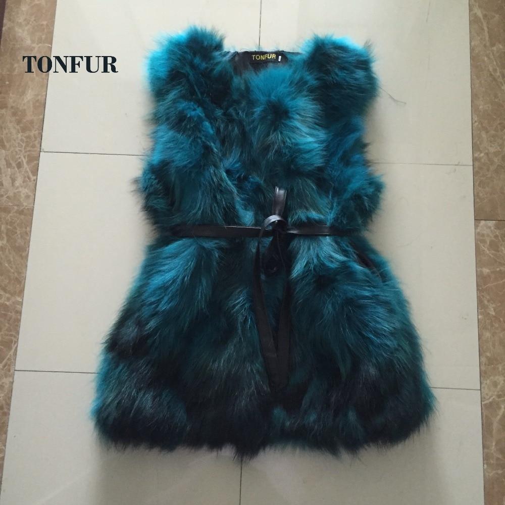 Belt Free Real Natural Genuine Raccoon Fur Vest Fashion Fur Gilet Customize Plus Big Size Hot