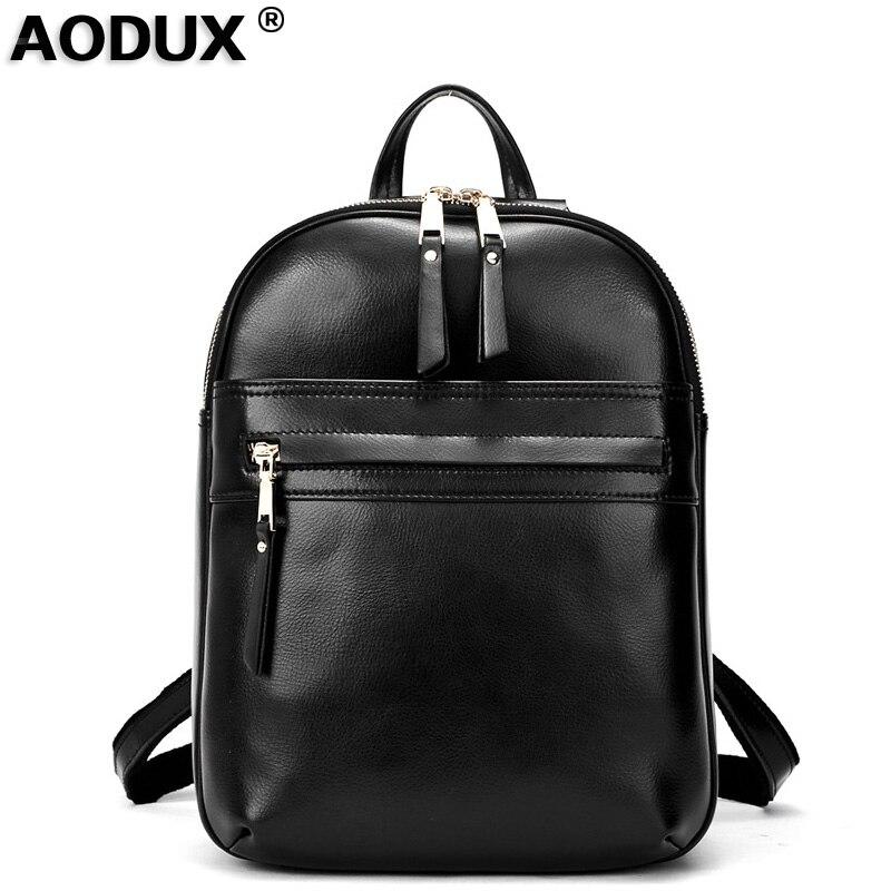 Top Quality Real Leather Backpacks Women Female Genuine Leather Backpack School Bags Beige Dark Blue Dark Red Black in Backpacks from Luggage Bags
