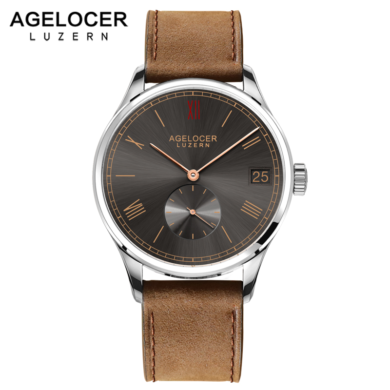 Agelocer Brown Watch Swiss Mechanical Timepiece Sport Mens Casual Wristwatches With France Leather Watch Strap Big Date Window эрве базен эрве базен собрание сочинений в 4 томах комплект из 4 книг