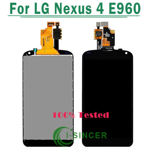 ФОТО 30/PCS Free DHL For LG Optimus Google Nexus 4 E960 LCD Display Touch Screen Digitizer + Full lcd Assembly Black color