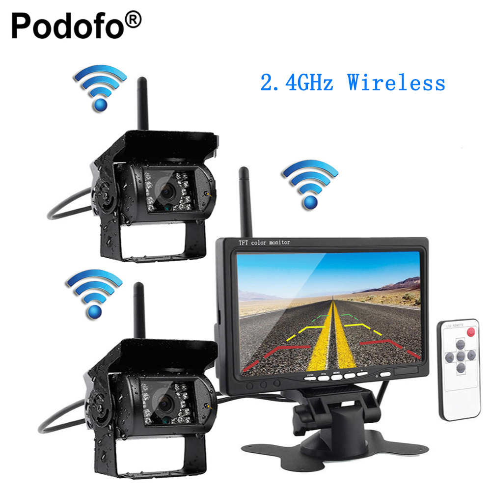 Podofo Wireless Vehicle Car 2 Backup Cameras Monitor, Ir Night Vision Rear View Camera + 7 Monitor for RV Truck Trailer Campers