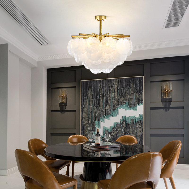 Candelabro Led de cristal de nieve moderno, iluminación de Metal dorado, comedor, candelabros Led, lámparas colgantes para sala de estar - 3