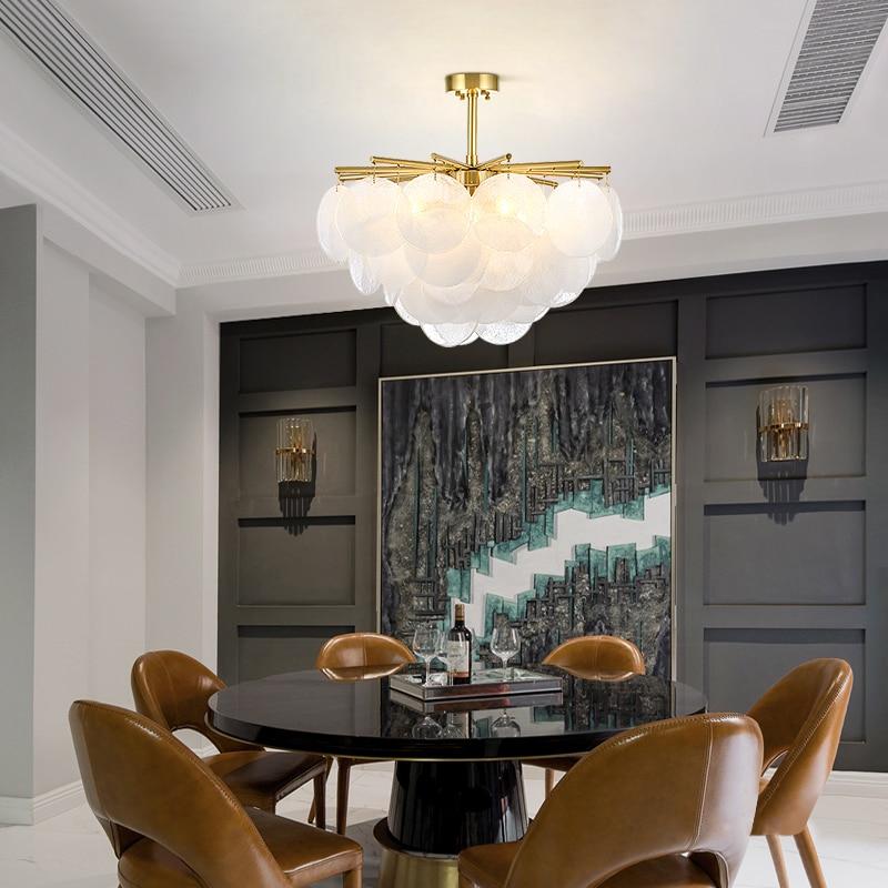 Modern Snow Glass Led Chandelier Lighting Gold Metal Dining Room Led Pendant Chandeliers Living Room Hanging Light Fixtures - 3