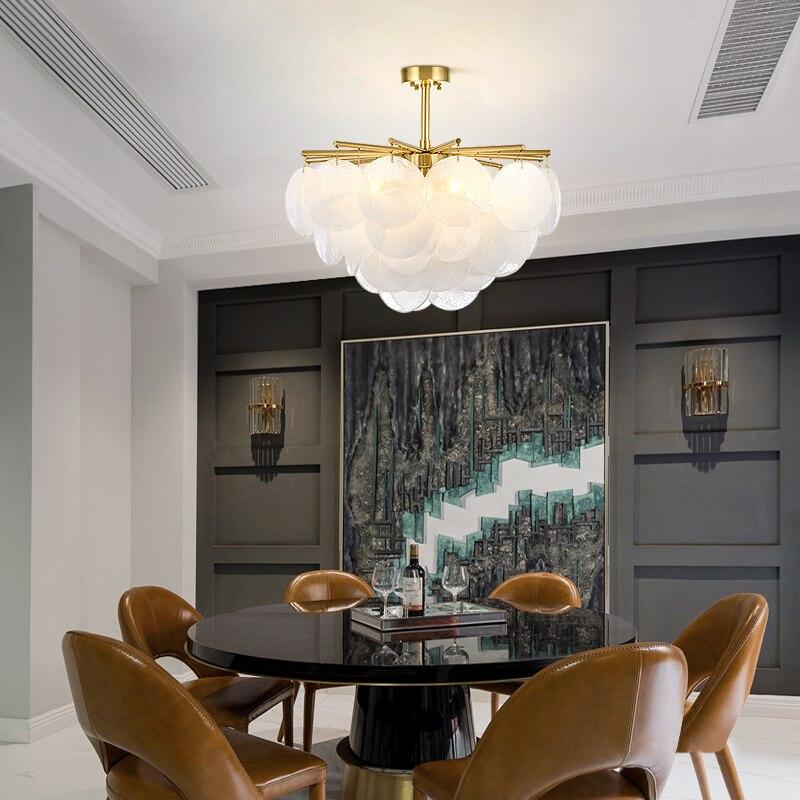 Moderne neige verre Led lustre éclairage or métal salle à manger pendentif Led lustres salon suspendus luminaires - 3