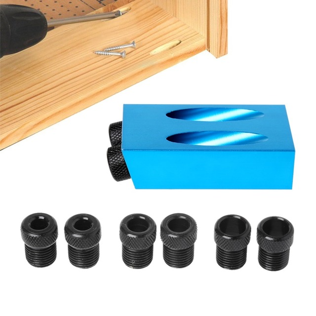 Pocket Hole Jig Kit 6/8/10mm 15 Angle Adapter Drill Guide Woodworking Adapter