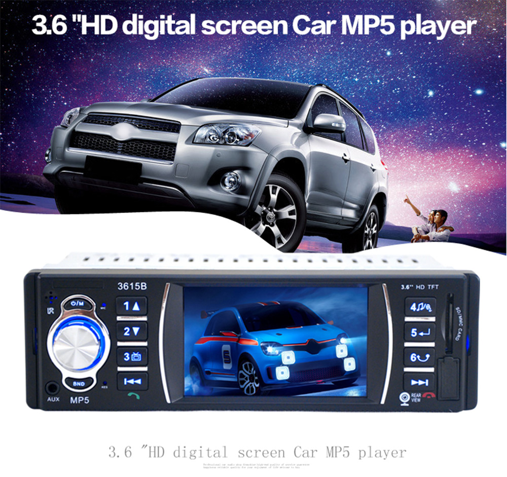 3615B 3.6'' TFT Screen 12V Bluetooth V2.0 Car Radio Audio Stereo Rear View Camera MP5 USB SD AUX In Player with Remote Control