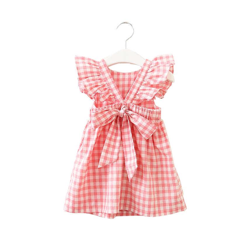 fae787d52a8 Hurave летнее платье без рукавов в клетку одежда для маленьких девочек  оборками спинки детское платье вырез