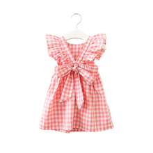 Hurave Summer sleeveless plaid baby Girl clothes ruffles backless Children dress crew neck baby dresses Kids Clothing недорого