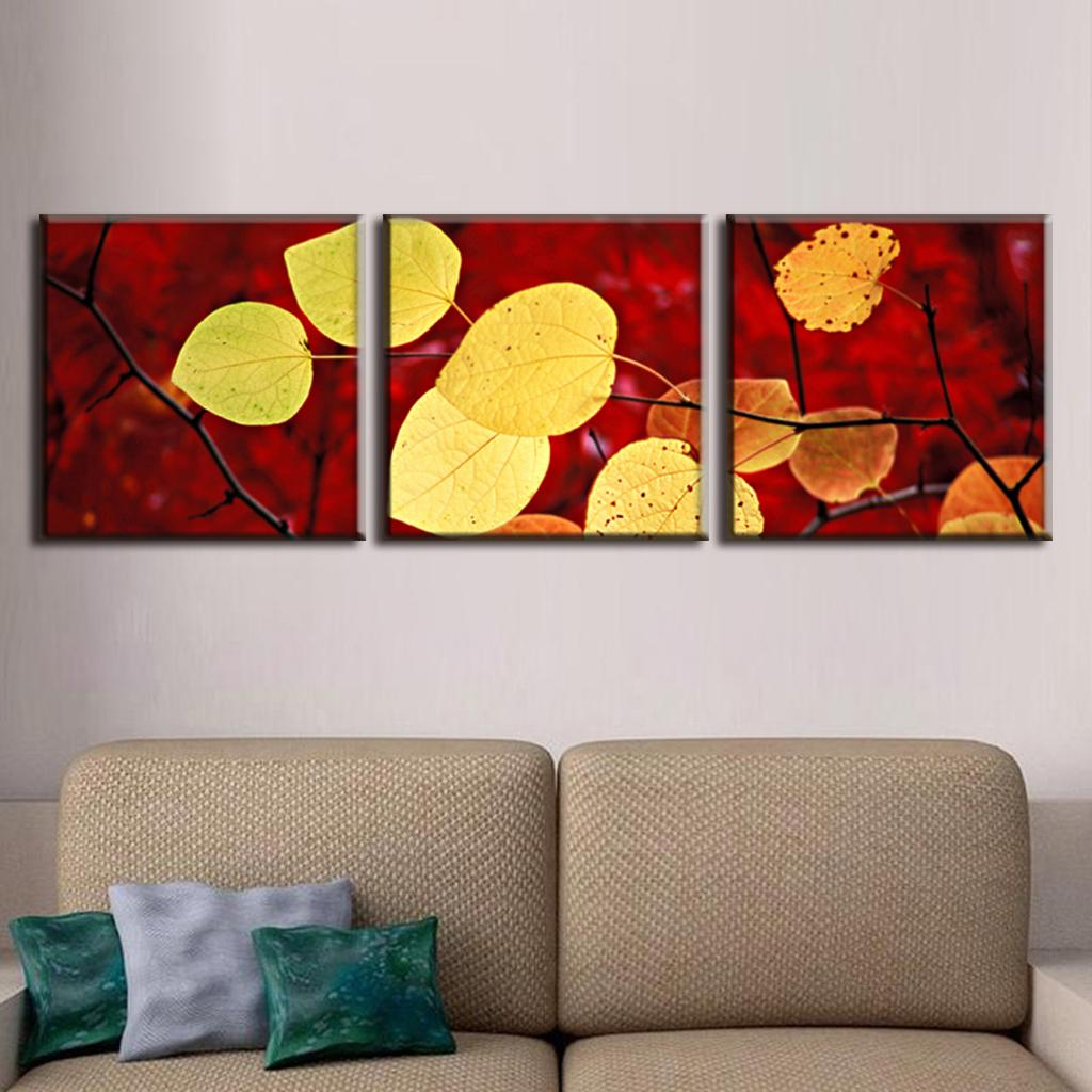3 pcs set autumn leaves painting canvas print modern wall for Set of three canvas paintings