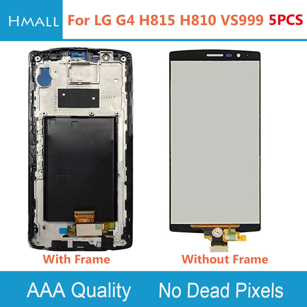 5 PCS For LG G4 H815 H810 VS999 LCD Display +Digitizer Touch Screen +Frame Assembly Replacement Black For LG G4 LCD Screen