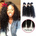 8A Indian Deep Wave 3 Bundles Indian Deep Curly Virgin Hair Raw Virgin Indian Remy Hair Weave 3 Bundles Curly Weave Human Hair
