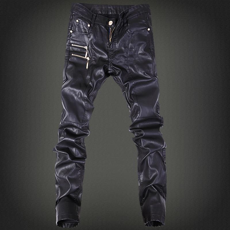 2019 herrmodellbyxor, läderbyxor tidvatten manlig nattklubb fyra säsonger kan bära läderbyxor män vilda långa fotbyxor