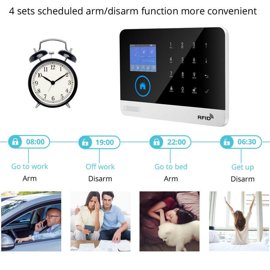 Wireless SIM GSM Hause RFID Einbrecher LCD Touch Tastatur WIFI GSM Alarm System Sensor kit Englisch, Russisch, spanisch Stimme