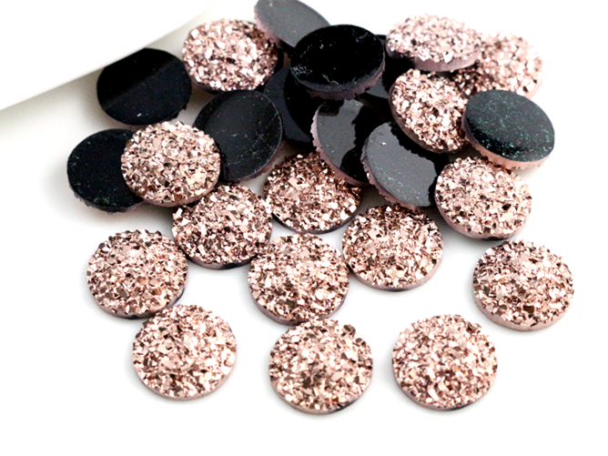 New Fashion 40pcs 12mm Rose Gold Plated Colors Flat back Resin Cabochon For Bracelet Earrings accessories F3-78