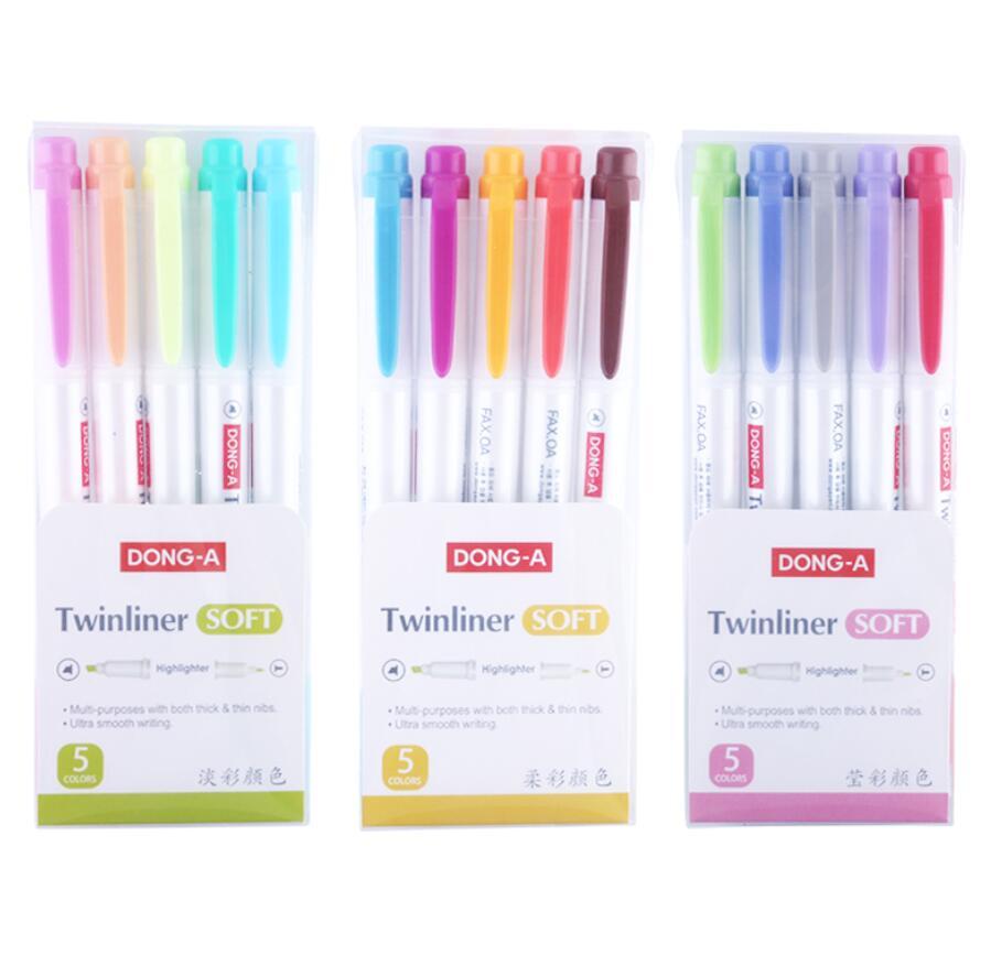5pcs /set Fluorescent Pen Highlighter Pen Marker Pastel Soft Color  Student Stationery Supplies -Non Zebra Mildliner