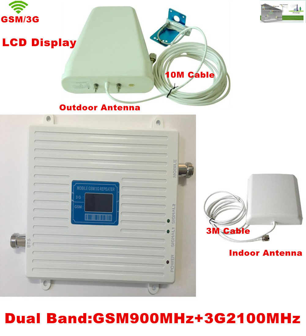 Newest W-CDMA 2100MHz 3G 2G GSM 900Mhz Dual Band Mobile Phone Signal Booster Repeater GSM 3G Cellular Signal Repeater AmplifierNewest W-CDMA 2100MHz 3G 2G GSM 900Mhz Dual Band Mobile Phone Signal Booster Repeater GSM 3G Cellular Signal Repeater Amplifier