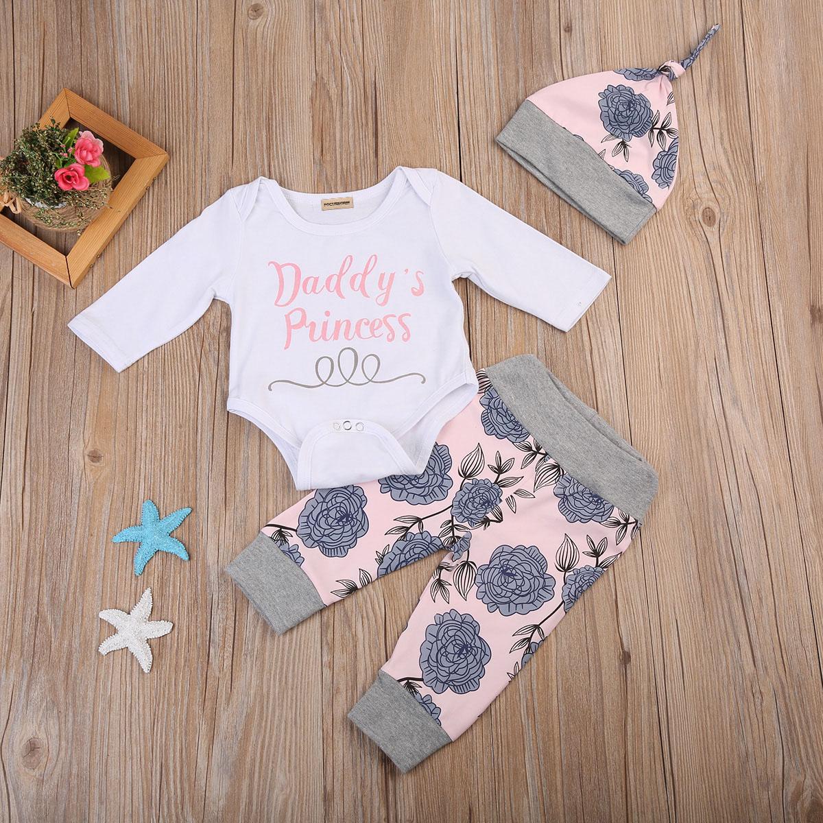 3pcs Infant Baby Boy Girl Outfits Clothes Set Daddy's Princess Bodysuit+Pants Leggings+Hat set 0-24 M