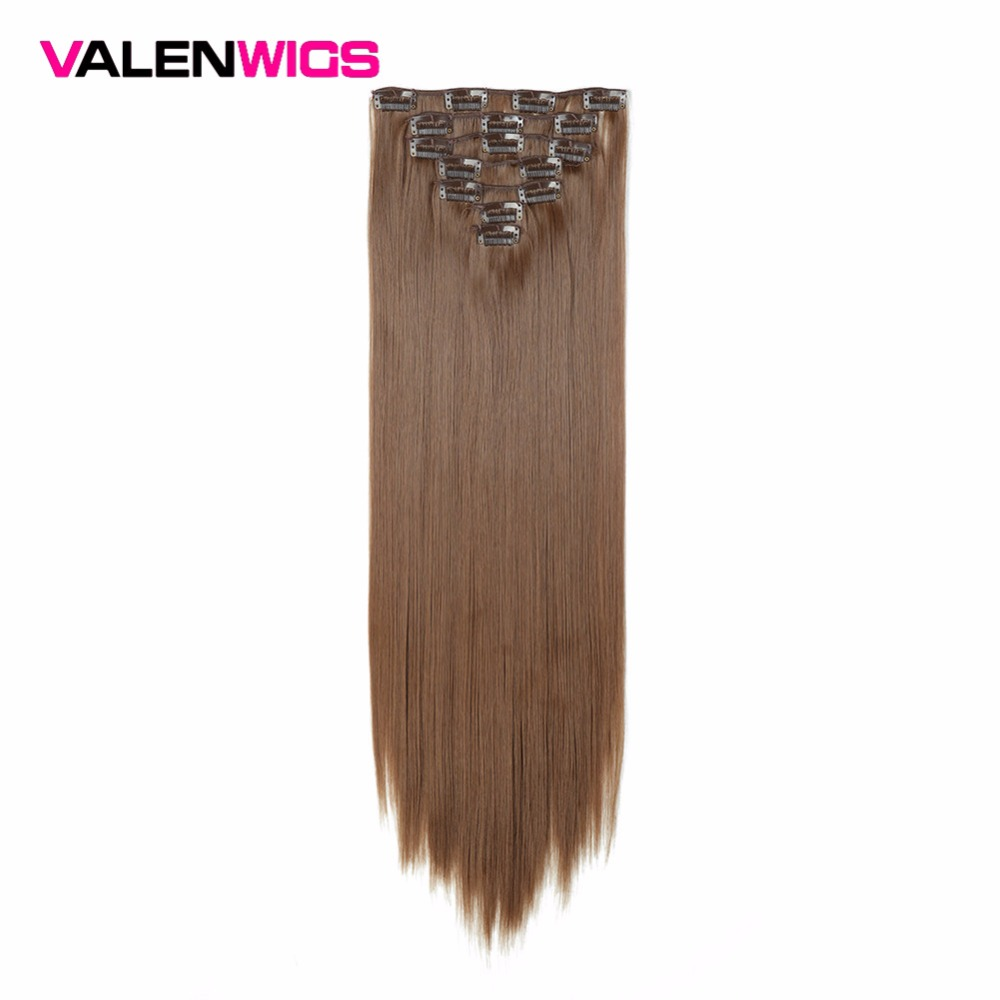 Valenwigs Synthetic Long Straight Pure Color Clip In Hair Extension  22 Inch Heat Resistant Fiber  7 Pcs Ful Head Clip In Hair